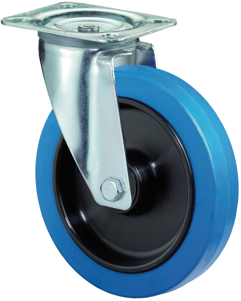 Anschraubplatte /Ø 160 mm Lenkrolle Elastikgummirad blau Radk/örper Kunststoff BS Rollen L400.B61.160 Transportrolle