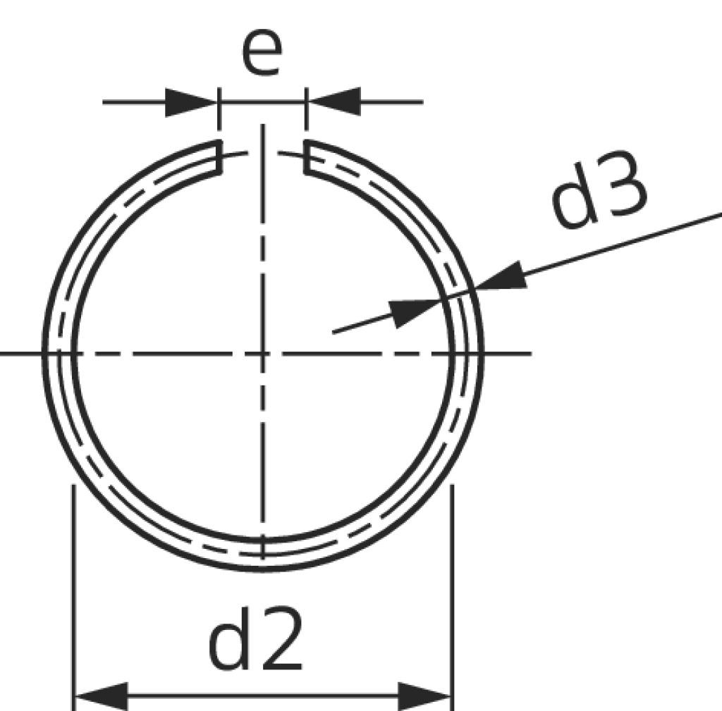 25 mm Runddraht Sprengring Sicherungsring DIN 7993 Form A f/ür Welle 100 St/ück