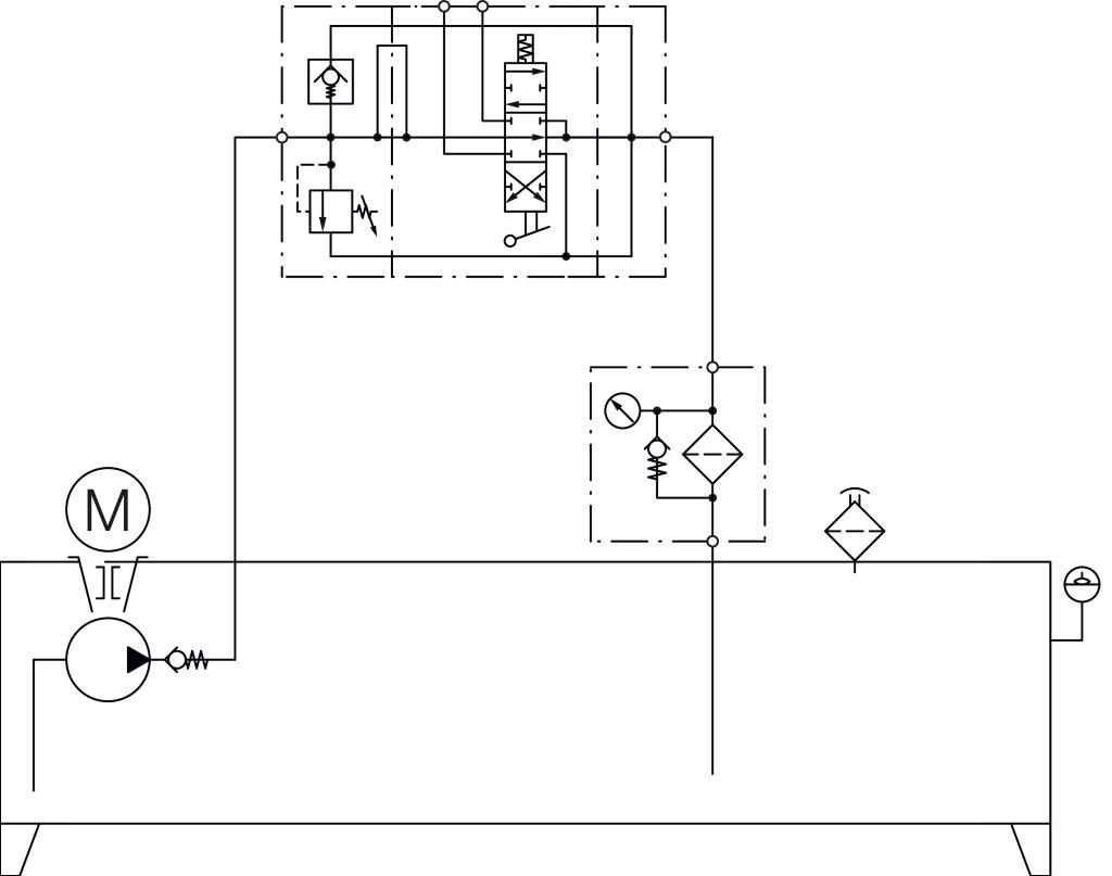 Aggregat, Schema A9, mit 4/3-Wege-Handschieberventil für einen oder ...