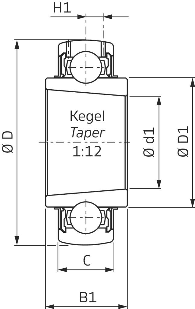 Spannlager SNR Baureihe UK..H ballig mit integrierter Spannhülse ...